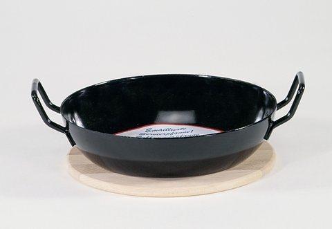 Schlemmerpfannen-Set mit Holzteller, Krüger (2tlg.) in schwarz