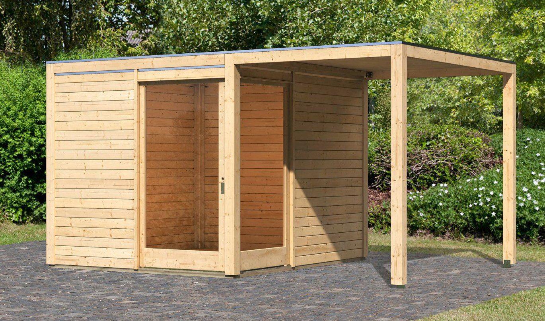 KARIBU Set: Gartenhaus »Cubu Eck«, BxT: 502x304 cm, inkl. Anbaudach
