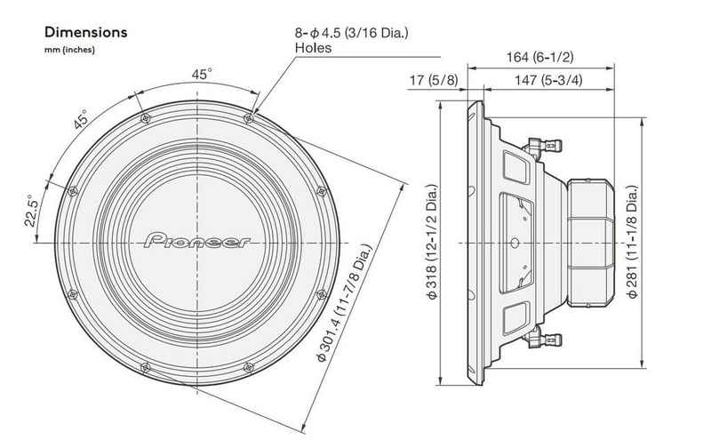 Pioneer Subwoofer (Pioneer TS-A300S4 - 30cm Subwoofer)