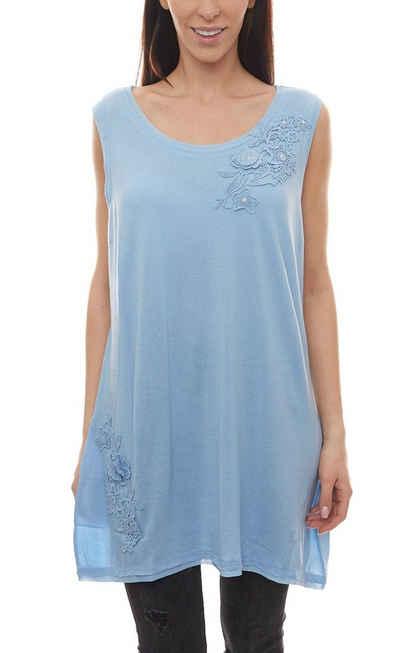 NoSecret Shirttop »no secret Webtop elegantes Shirt Damen T-Shirt mit floraler Verarbeitung Große Größen Freizeit-Top Blau«