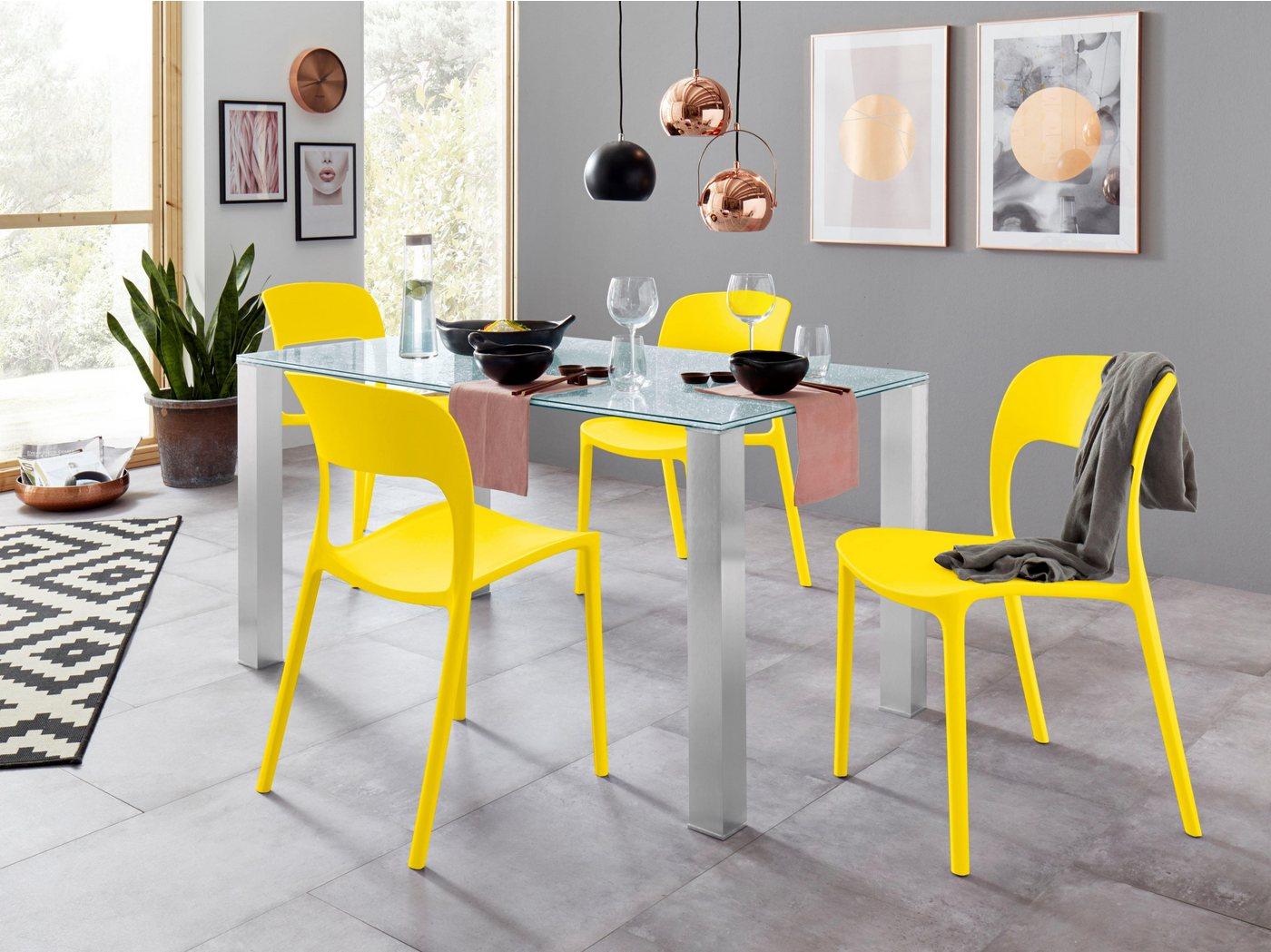 OTTO Essgruppe mit Glastisch und 4 Stühlen gelb  Essgruppe