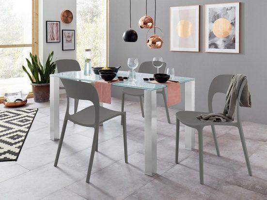 Essgruppe mit Glastisch und 4 Stühlen