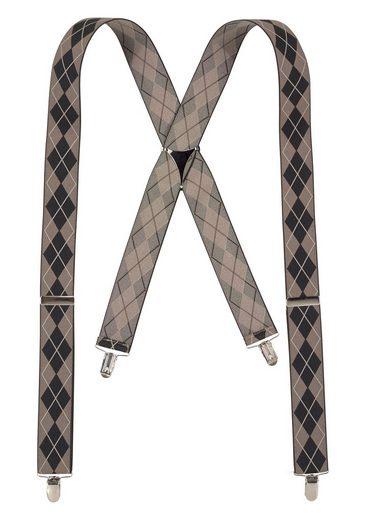 J.Jayz Hosenträger (1-St) Breite Hosenträger, Rautenmuster, Verstellbar, Elastisch