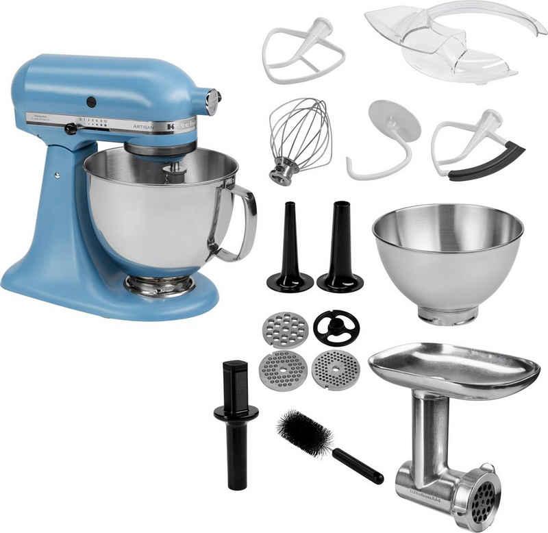 KitchenAid Küchenmaschine Artisan 5KSM175PSEVB, 300 W, 4,8 l Schüssel, inkl. Ganzmetall Fleischwolf im Wert von ca. 149,-€ UVP. Farbe: BLUE VELVET