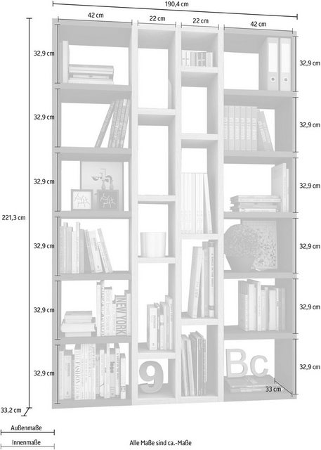 Raumteilerregal »TOR391-2«| Breite 145 cm | Wohnzimmer > Regale > Raumteiler | Braun | OTTO