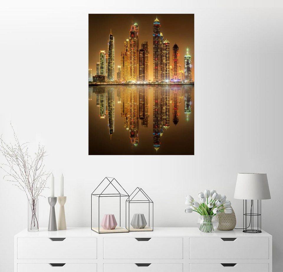 Posterlounge Wandbild Beleuchtung Der Dubai Marina Bay Online