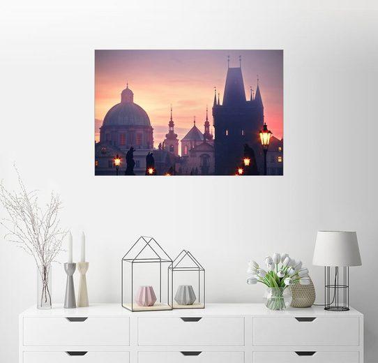 Posterlounge Wandbild »Nebeliger Morgen an der Karlsbrücke in Prag«