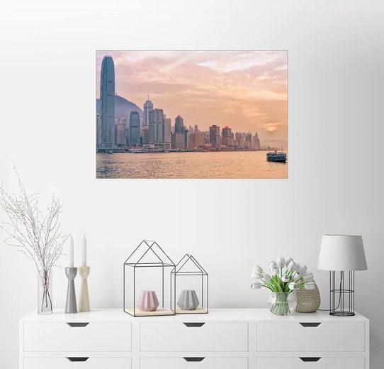 Posterlounge Wandbild »Fähre und Victoria Hafen in Hong Kong«