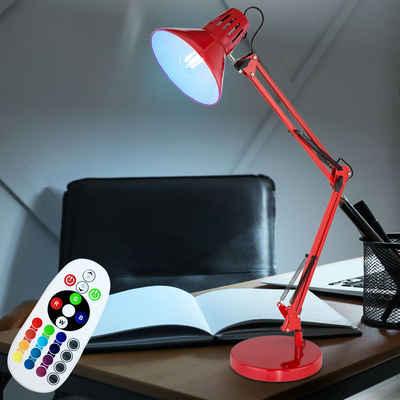 etc-shop Klemmleuchte, Tisch Lampe rot Klemm Strahler dimmbar Spot Gelenk Leuchte verstellbar Fernbedienung im Set inkl. RGB LED Leuchtmittel