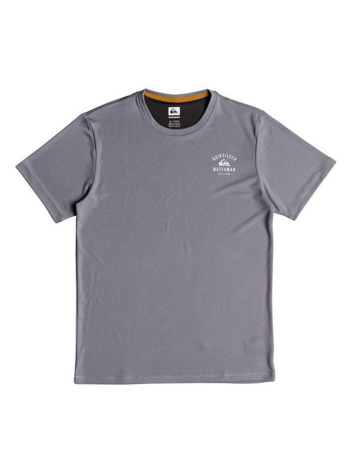 Herren Quiksilver Kurzärmliger UPF 40 Amphibian-Rashguard Waterman Gut Check grau | 03613373795991