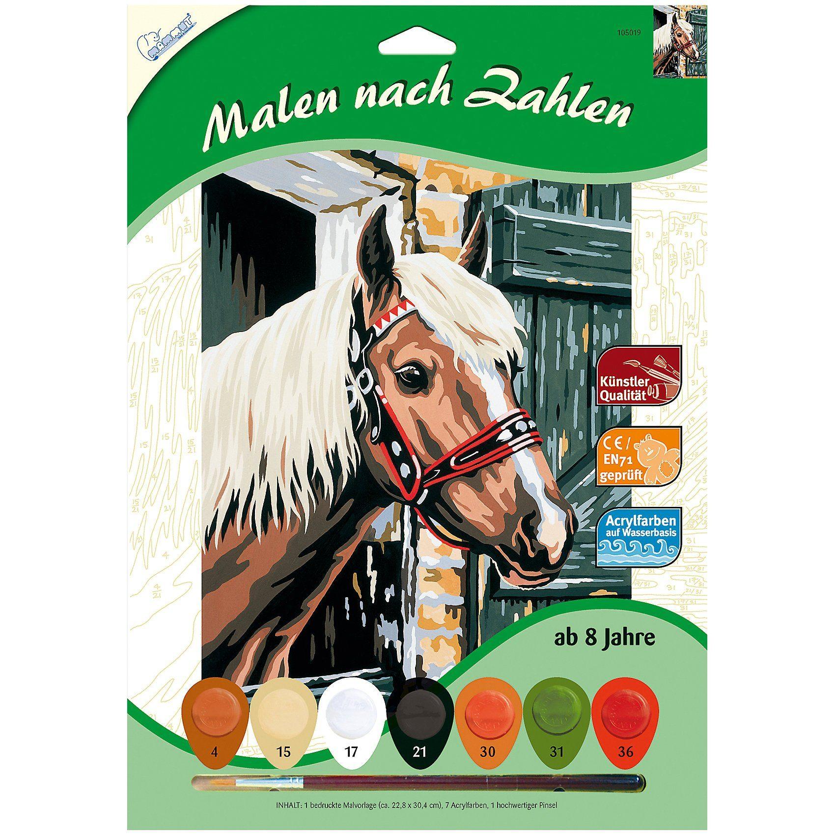 MAMMUT Spiel und Geschenk Malen nach Zahlen Pferd im Stall