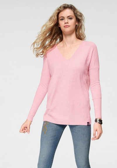 Superdry V-Ausschnitt-Pullover »ROSIE LEA VEE JUMPER« mit weichem Kaschmir 38dd5eeddf