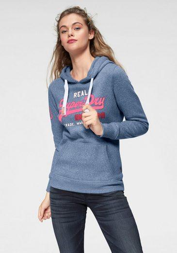 Superdry Sweatshirt »VINTAGE LOGO GLITTER CRACK ENTRY HOOD« in Melange-Optik