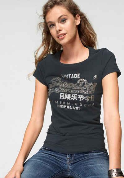 Superdry Print-Shirt »PREMIUM GOODS STAR STUD ENTRY TEE« mit Metallic-Print 2c8e839195