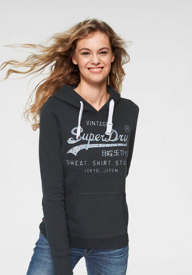 size 40 7fcc2 9db9e Superdry Sweatshirt »VINTAGE LOGO GLITTER CRACK ENTRY HOOD« mit  metallicfarbenem 3D-Druck online kaufen | OTTO