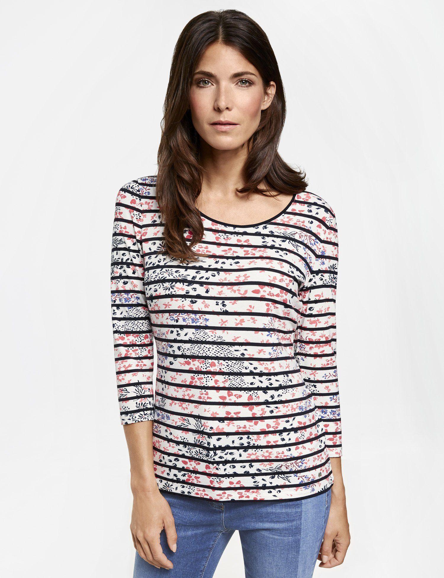 GERRY WEBER Shirt »3/4 Arm Shirt mit Streifen-Blumen Mix«