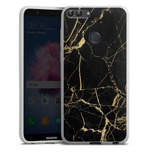 DeinDesign Handyhülle »BlackGoldMarble Look« Huawei P Smart (2018), Hülle Marmor schwarz Muster