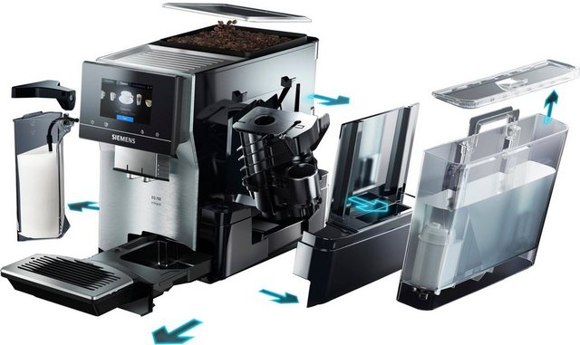 SIEMENS Kaffeevollautomat EQ.700 integral TQ707D03, intuitives Full-Touch-Display, speichern Sie bis zu 30 individuelle Kaffee-Favoriten, automatische Milchsystem-Reinigung