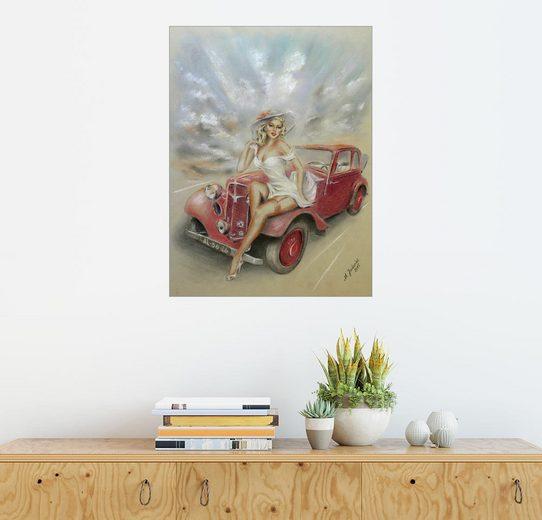 Posterlounge Wandbild - Marita Zacharias »Girl und Oldtimer - Vintage«