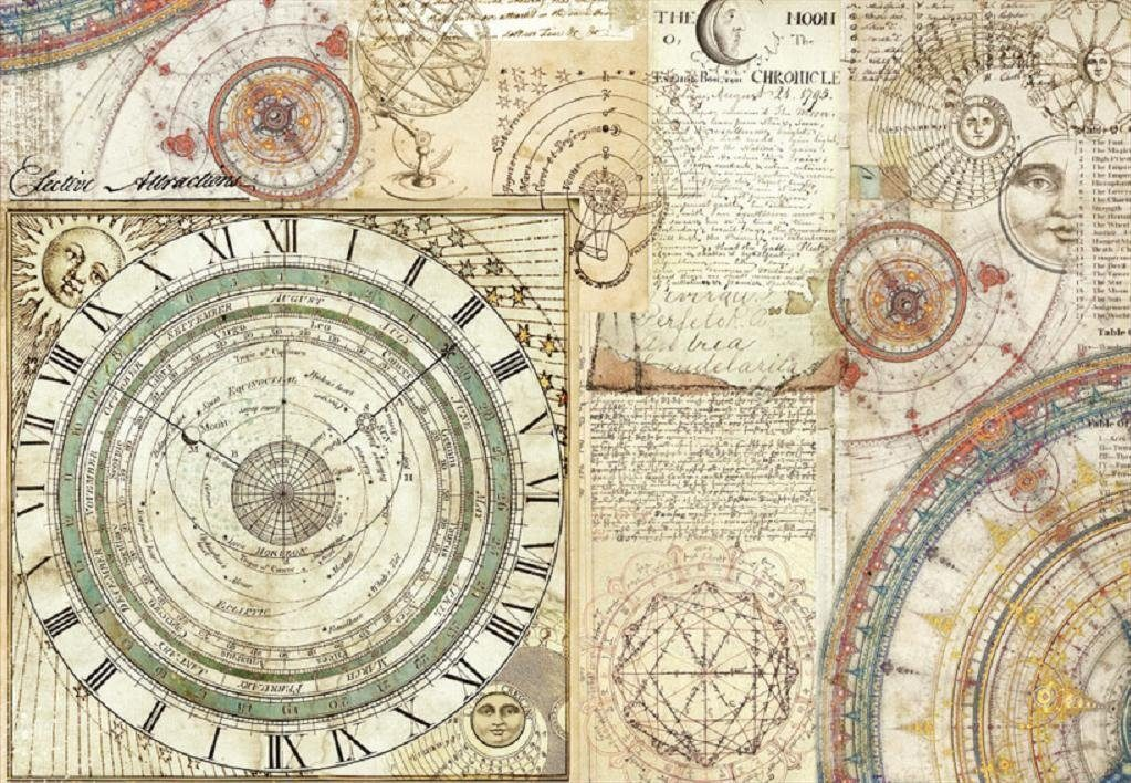 "Stamperia Motiv-Strohseide ""Astronomie"" 48x33 cm"