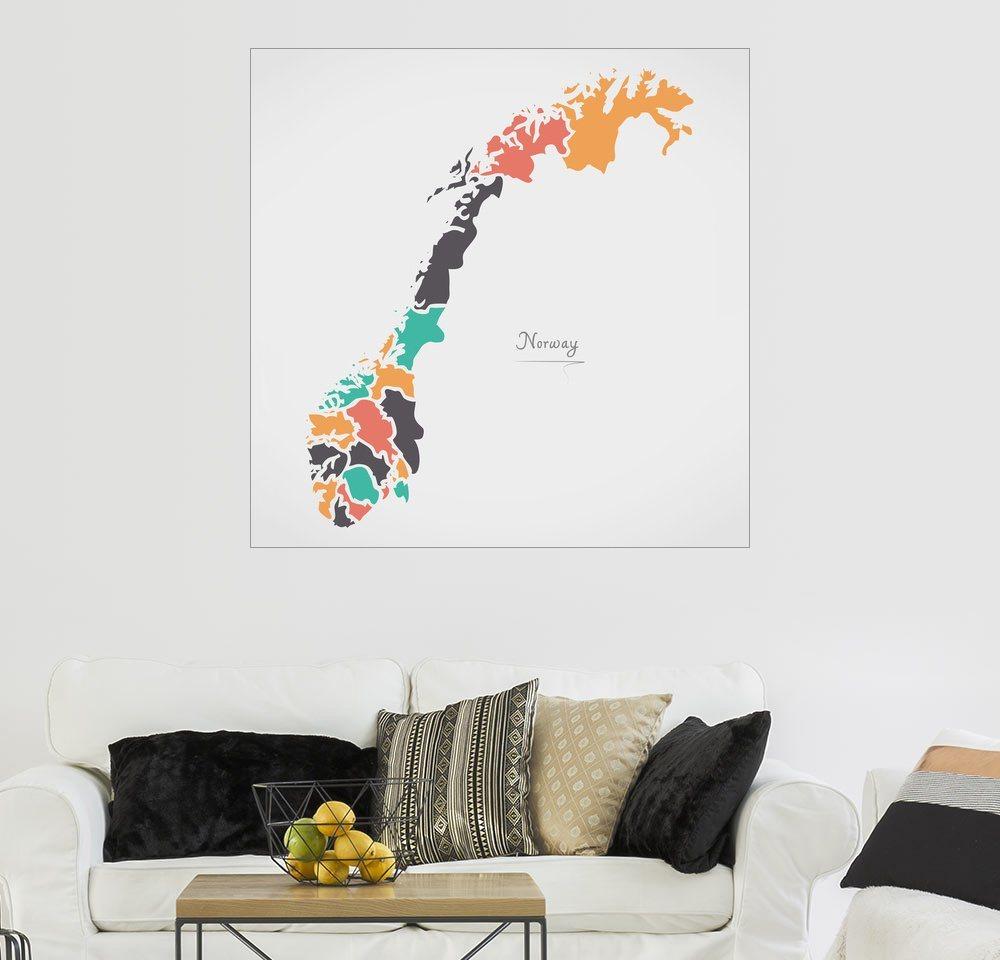 Posterlounge Wandbild - Ingo Menhard »Norwegen Landkarte modern abstrakt mit runden...«   Dekoration   Holz   Posterlounge