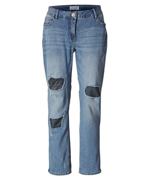Hosen - Angel of Style by Happy Size Slim Fit Jeans mit Destroyed Effekt › blau  - Onlineshop OTTO
