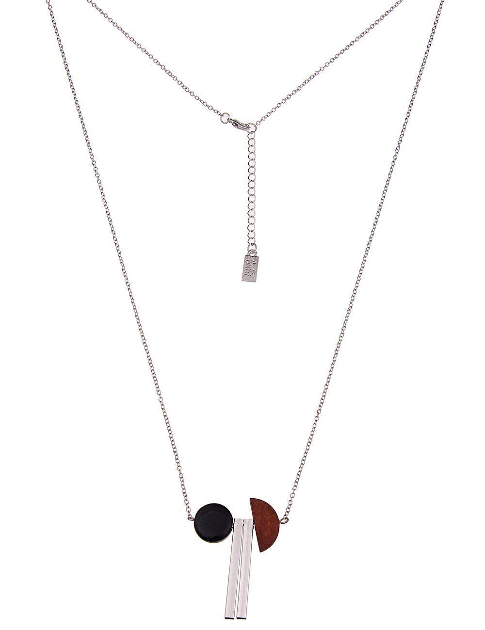 Leslii Halskette mit Holz- und Steinanhänger