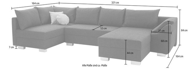 Sofas - COLLECTION AB Wohnlandschaft, inklusive Bettfunktion und Bettkasten  - Onlineshop OTTO