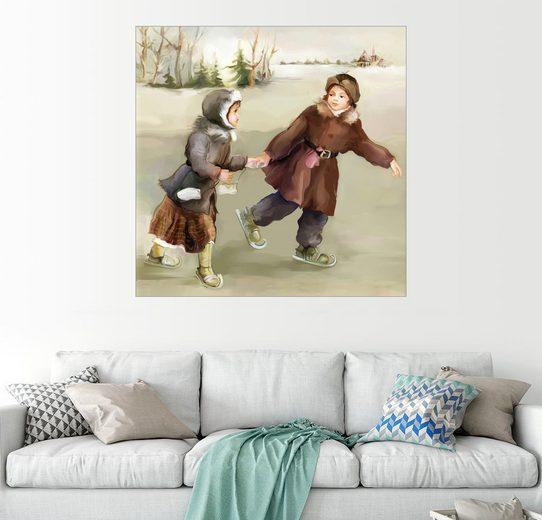 Posterlounge Wandbild »Kleine russische Eisläufer«
