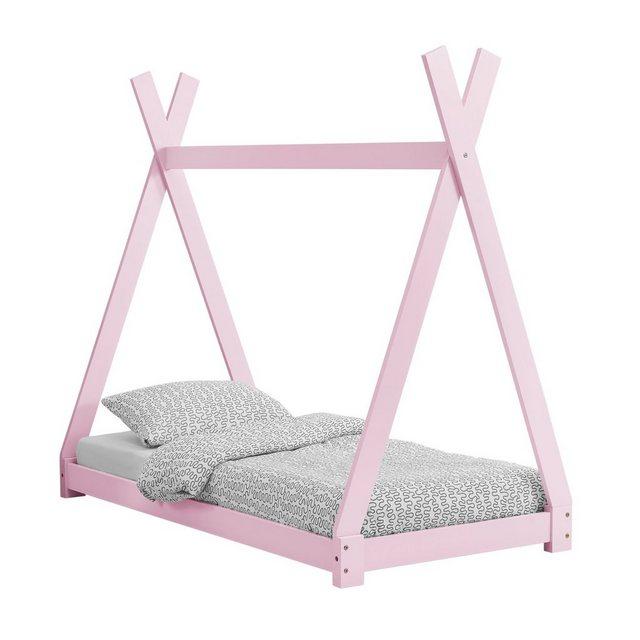 Kinderbetten - en.casa Kinderbett, Kinderbett im Tipi Design aus Kiefernholz Jugendbett Holzbett Hausbett 70x140 cm Rosa »  - Onlineshop OTTO