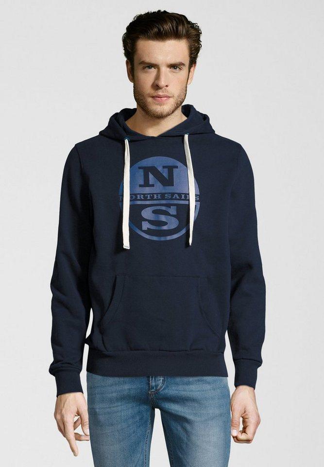Herren North Sails Kapuzensweatshirt HOODED SWEAT LOGO Kängurutasche blau   08054951603591