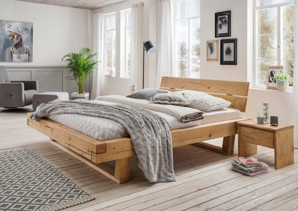 Premium collection by Home affaire Schlafzimmer-Set »Ultima«, 3tlg., aus  schönem massivem Wildeichenholz in Balken-Optik, bestehend aus 180 cm Bett  + ...