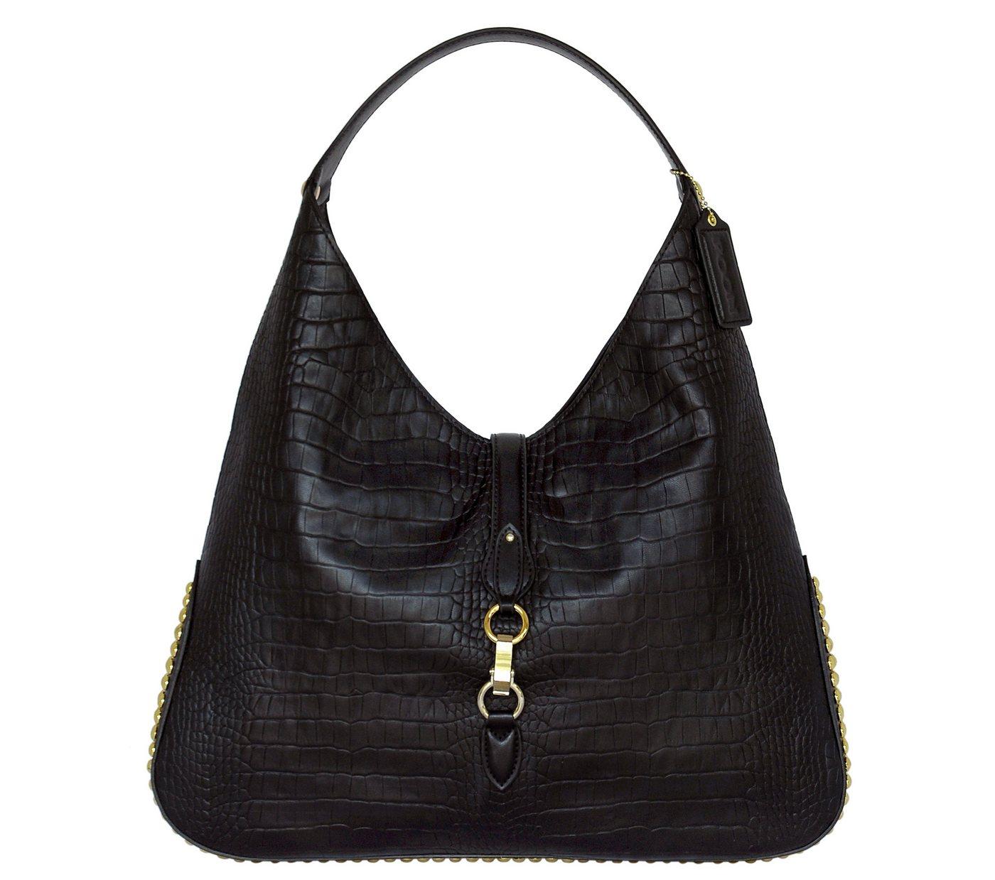 Damen POON Switzerland Lederhand- und Schultertasche mit Schlossverschluss schwarz | 00634154734384