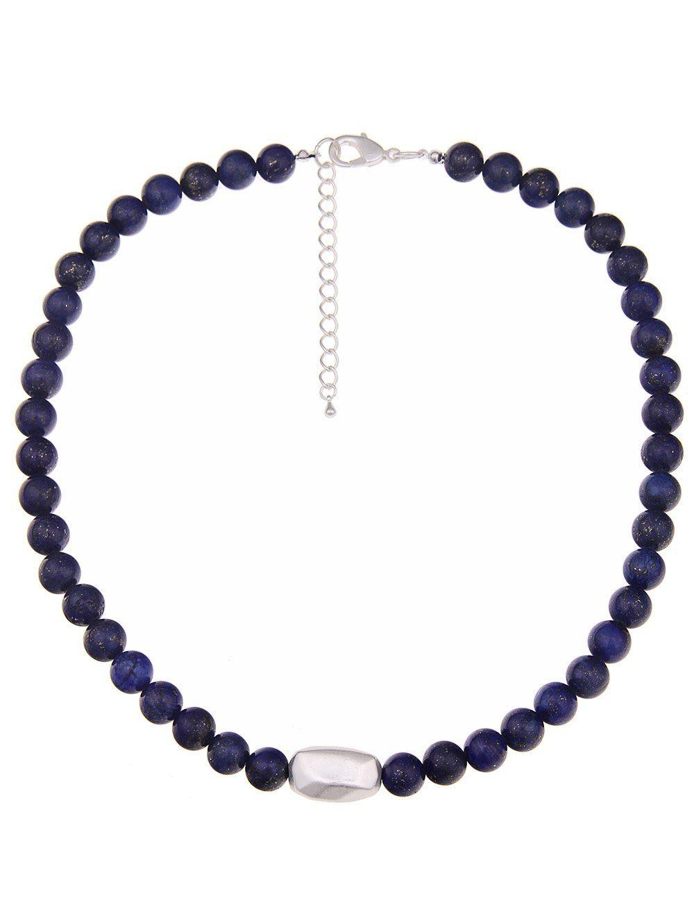 Leslii Halskette mit blauen Steinkugeln und Silberstein