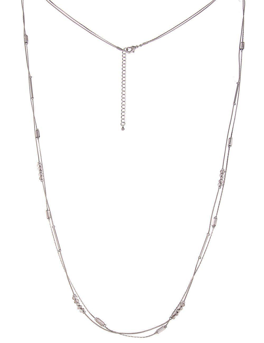 Leslii Halskette mit geschliffenen Elementen und silberfarbigen Stäben