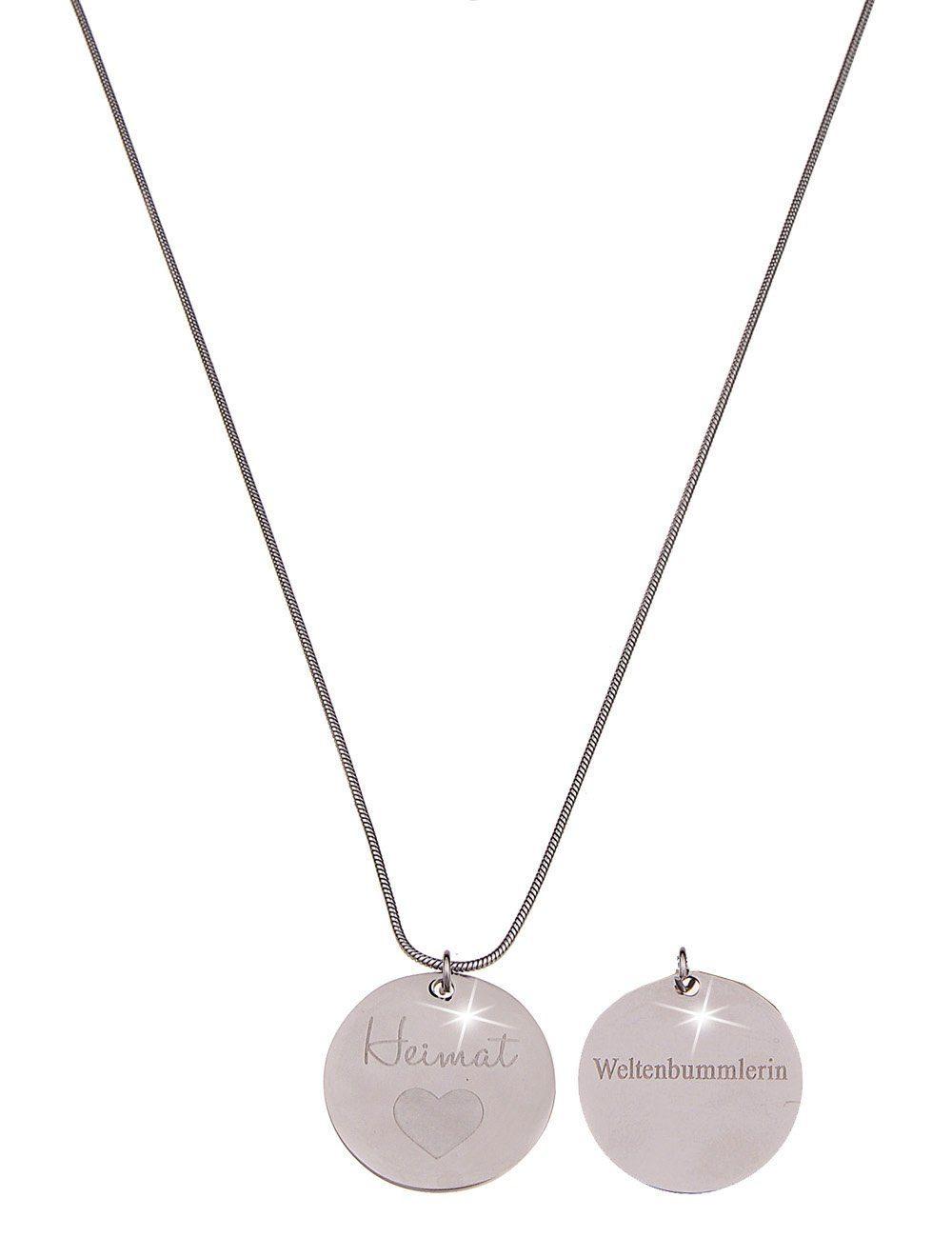 Leslii Halskette mit Heimat-Weltenbummlerin-Anhänger