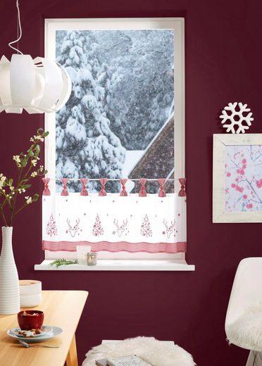 Scheibengardine »Sam«, my home, Schlaufen (1 Stück), Weihnachtsgardinen
