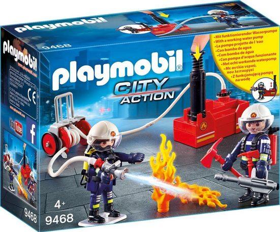 Playmobil® Konstruktions-Spielset »Feuerwehrmänner mit Löschpumpe (9468), City Action«, Made in Europe