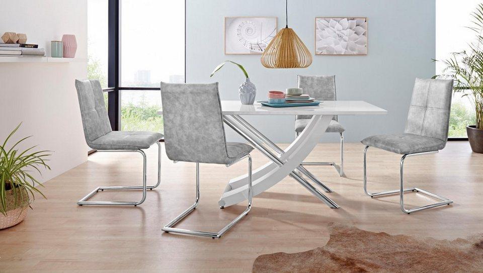 Essgruppe Kaleo Claire Mit 4 Stühlen Und 1 Tisch Weiß