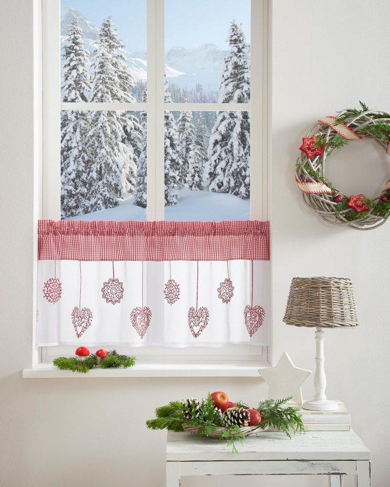 scheibengardine dara home affaire stangendurchzug 1 st ck weihnachtsgardinen online. Black Bedroom Furniture Sets. Home Design Ideas
