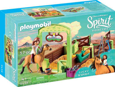 Playmobil® Konstruktions-Spielset »Pferdebox Lucky & Spirit (9478), Spirit Riding Free«, (57 St), Made in Europe