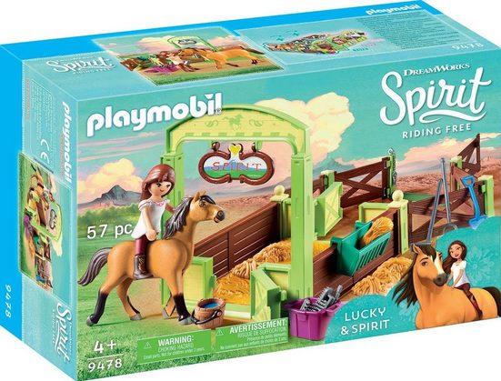 Playmobil® Konstruktions-Spielset »Pferdebox Lucky & Spirit (9478)«