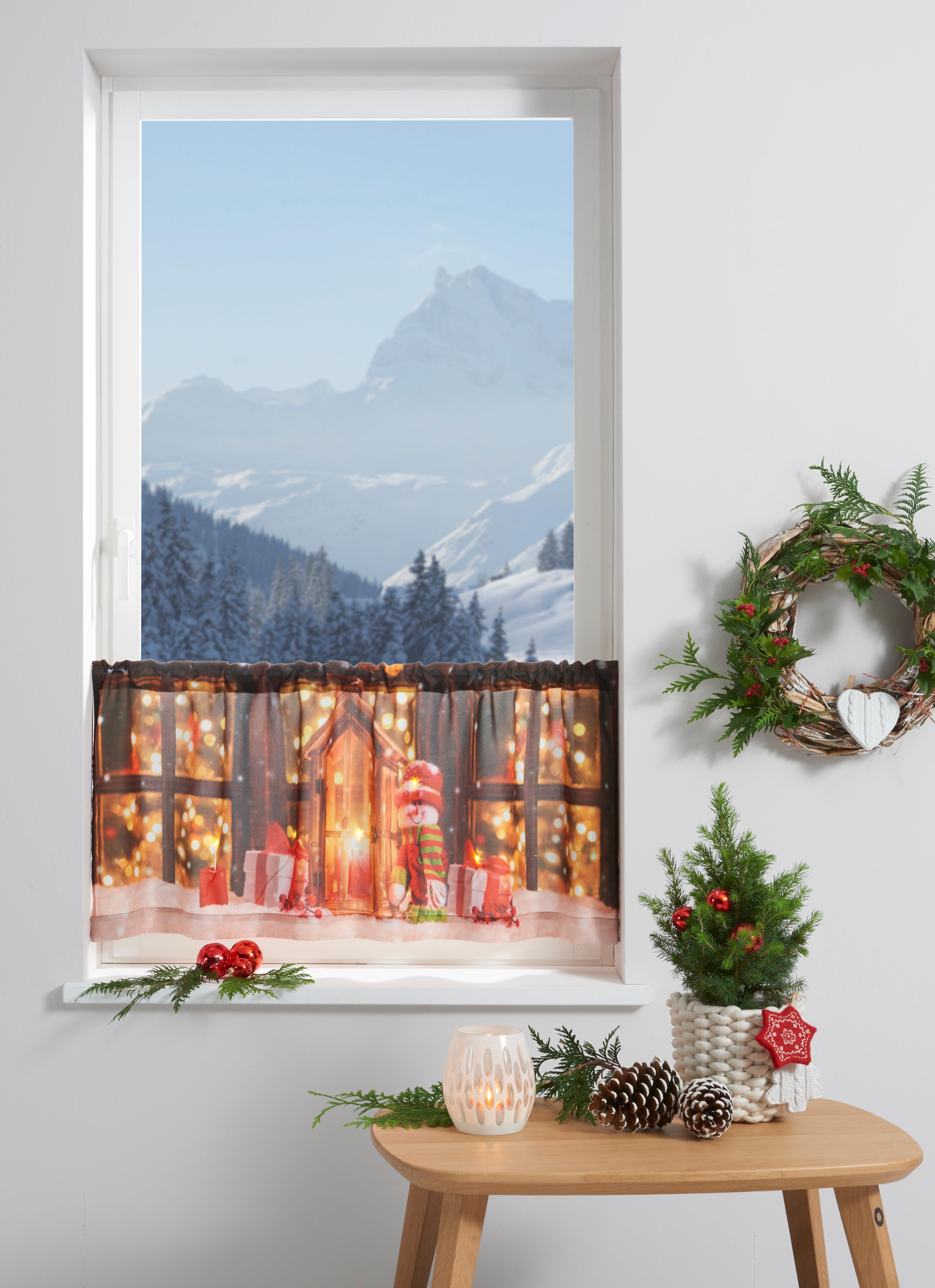 Scheibengardine »Lichterhaus«, my home, Stangendurchzug (1 Stück), mit LED-Beleuchtung