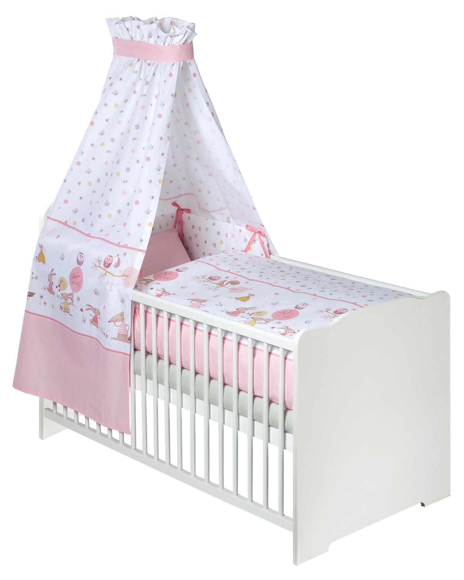 Zöllner 7-tlg. Komplettbett »Tierwelt rosa«, Babybett+ Matratze+ Himmelstange+ Himmel+ Nestchen+ Bettwäsche