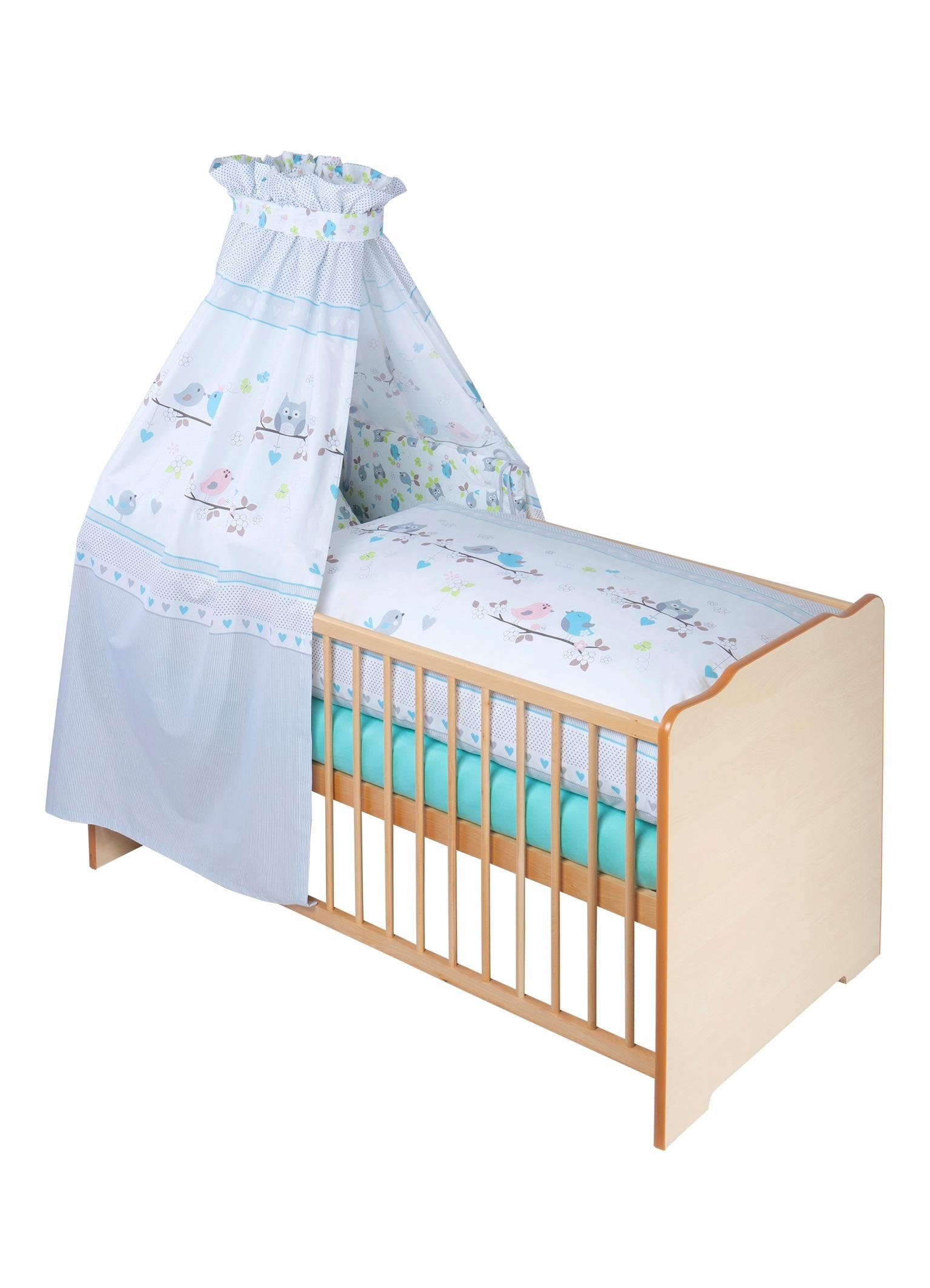 Zöllner 7-tlg. Komplettbett »Vögel«, Babybett+ Matratze+ Himmelstange+ Himmel+ Nestchen+ Bettwäsche