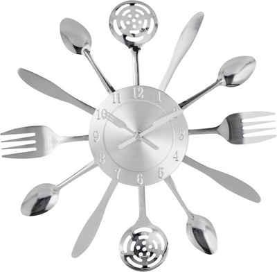my home Wanduhr »Cutlery« (Küchenuhr, silberfarben, rund, Ø 50 cm)
