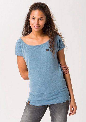 naketano T-Shirt »Wolle« mit breitem Rippbündchen am Saum