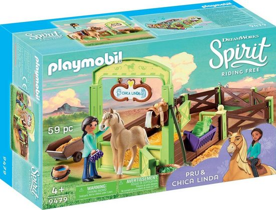 Playmobil® Konstruktions-Spielset »Pferdebox Pru & Chica Linda (9479), Spirit Riding Free«, Kunststoff