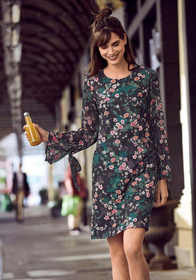 Laura Scott Druckkleid mit Chiffonärmeln | Bekleidung > Kleider > Druckkleider | Schwarz | Chiffon | Laura Scott
