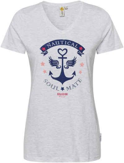 ROADSIGN australia V-Shirt mit Anker- und Statement-Print